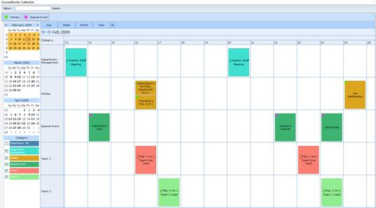 Display Options – Sample Calendar Timeline